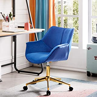 OVIOS Office Chair,Computer Chair for Home Office or Conference.Swivel Desk Chair with Golden Base and Arms. (Velvet-Blue)