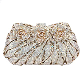 Glitter Studded Flower Clutches Bag for Wedding and Party Rose Purses for Ladies
