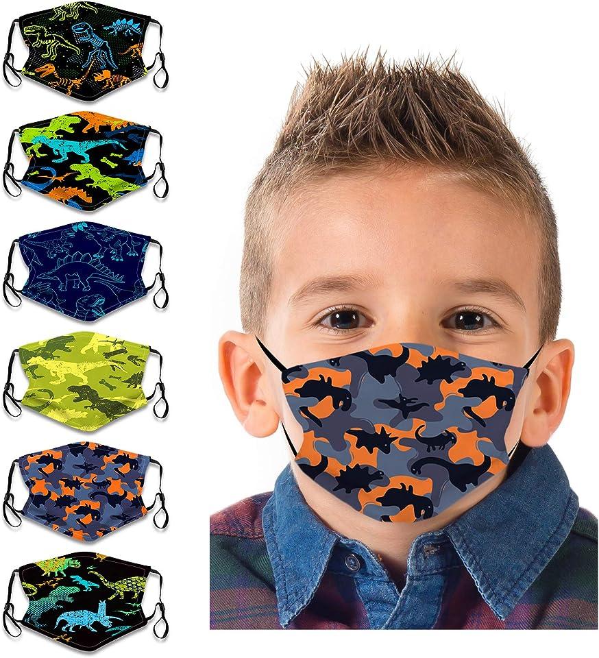 COMMINY 6PCs Kids Cartoon Face Bandanas Reusable Breathable Protection for Children
