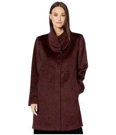 Eileen Fisher Luxe Baby Alpaca Wool High Collar Coat (Cassis) Women