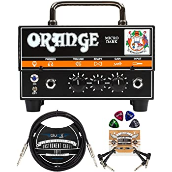 "Orange Amps Micro Dark 20W Tube Hybrid Amplifier Head for Electric Guitars Bundle with Blucoil 10' Straight Instrument Cable (1/4""), 2-Pack of Pedal Patch Cables, and 4-Pack of Celluloid Guitar Picks"