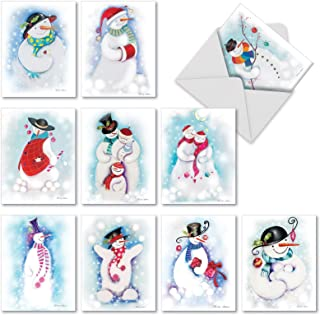 10 Assorted 'Festive Snowmen' Blank All Occasion Greeting Cards, Boxed Set of Lovely Snowman Holiday Notes, Snowmen Dressed in Winter Clothes Christmas Cards, Happy Snowman Cards M10004XB