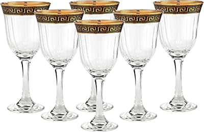 Cristalleria Italian Decor Crystal Wine Beverage Goblet, 8 oz. Gold and Black Greek Key Ornament, Hand Made in Italy, Set of 6 Glasses