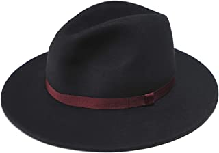 Women's Wool Felt Fedora Hat with Swirl Lining Black