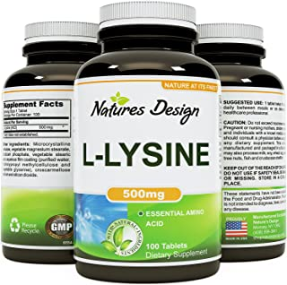Pure L-LYSINE 500mg - 100 Tablets – Natural Essential Amino Acid Supplement - Boost Immunity and Prevent Cold Sores – L-lysine Helps Collagen Formation for Healthy Skin + Hair & Bones