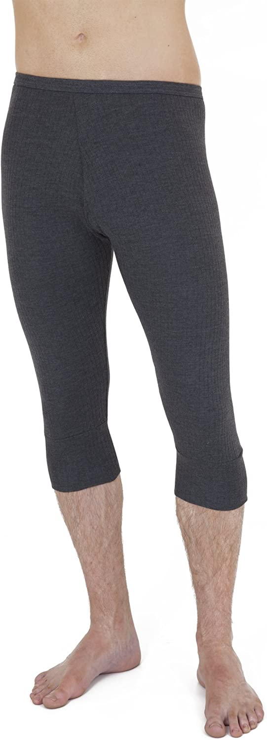 Mens Thermal Underwear 3/4 Length Long Johns (British Made) (Waist: 39-42inch (X-Large)) (Charcoal)