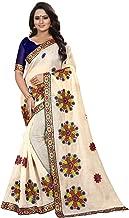 Embroidered Fashion Cotton Chambray Blend Saree Rangoli-1