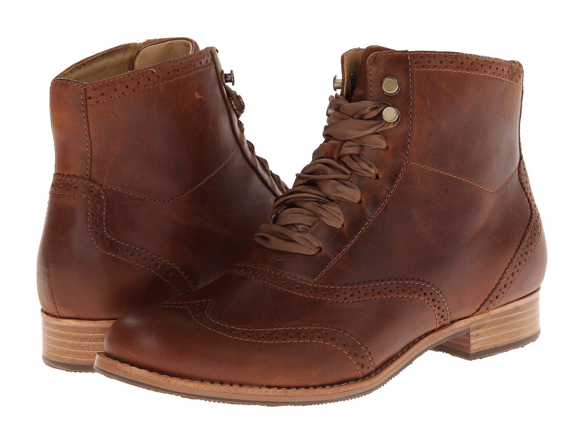 New Sebago Claremont Boot Women's Lace-up Boots, Cognac Leather