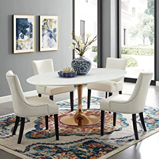 "Modway Lippa 78"" Mid-Century Modern Dining Table with Oval White Top and Pedestal Base in Rose White"