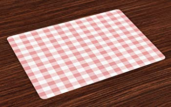 Ambesonne Checkered Place Mats Set of 4, Picnic in Countryside Themed Gingham Pattern in Soft Colors Print, Washable Fabric Placemats for Dining Room Kitchen Table Decor, Pink Pale Pink White