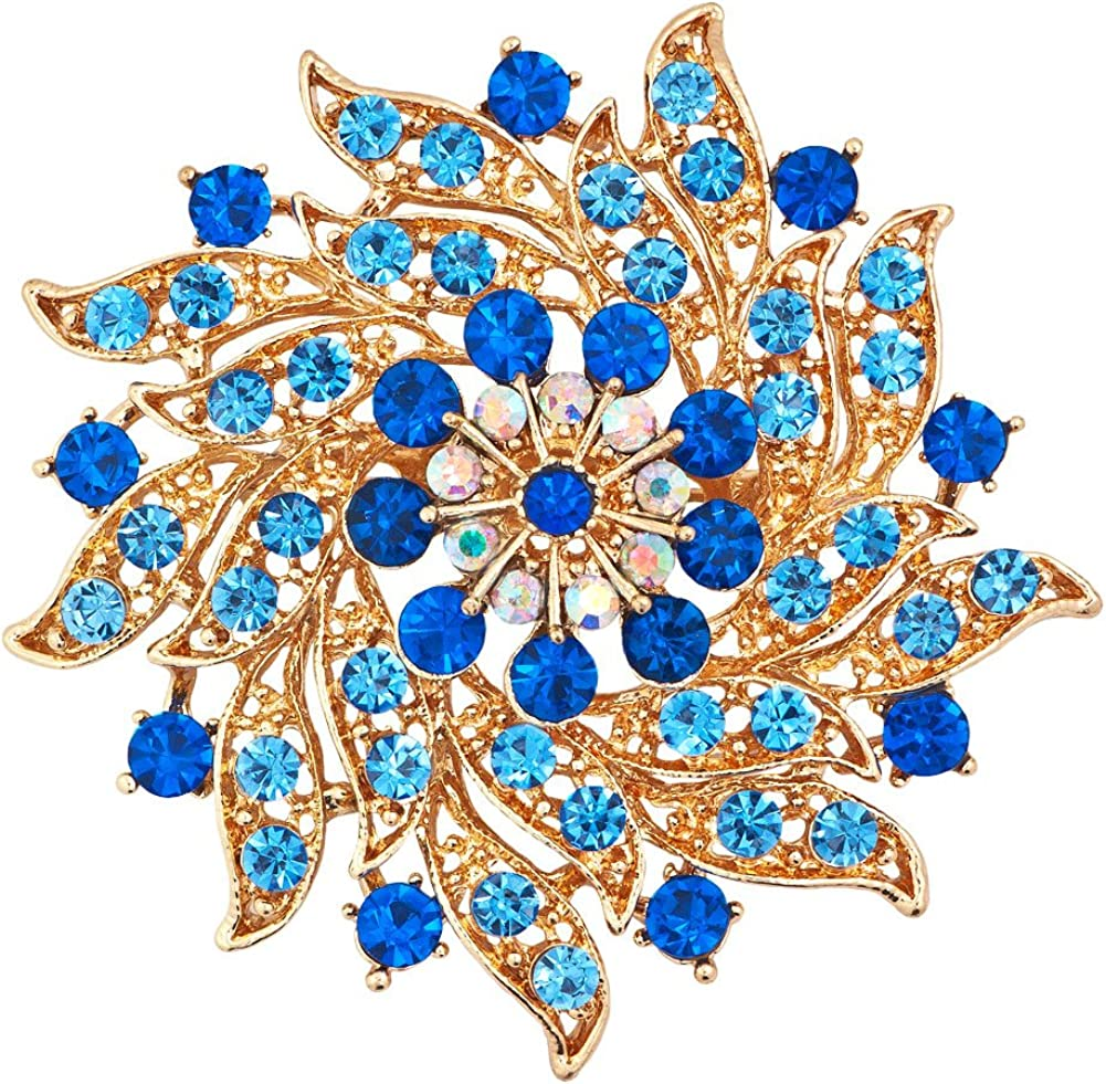 JewelryHouse Fancy Gold Plated Flower Imitation Crystal Brooches and Pins
