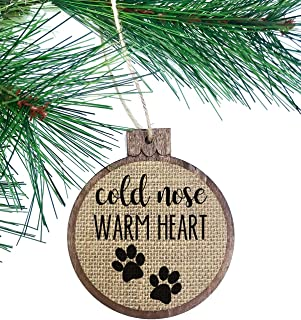 Cold Nose Warm Heart Pet Ornament/Dog Puppy Paws/Rustic Shabby Chic/Christmas Ornament/Wood Burlap