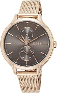 Hugo Boss Women's Grey Dial Ionic Plated Carnation Gold Steel Watch - 1502536