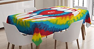 Ambesonne 70s Party Tablecloth, Peace and Love Groovy Sixties Tie Dye Effect Heart Shaped Abstract Rainbow Print, Dining Room Kitchen Rectangular Table Cover, 52