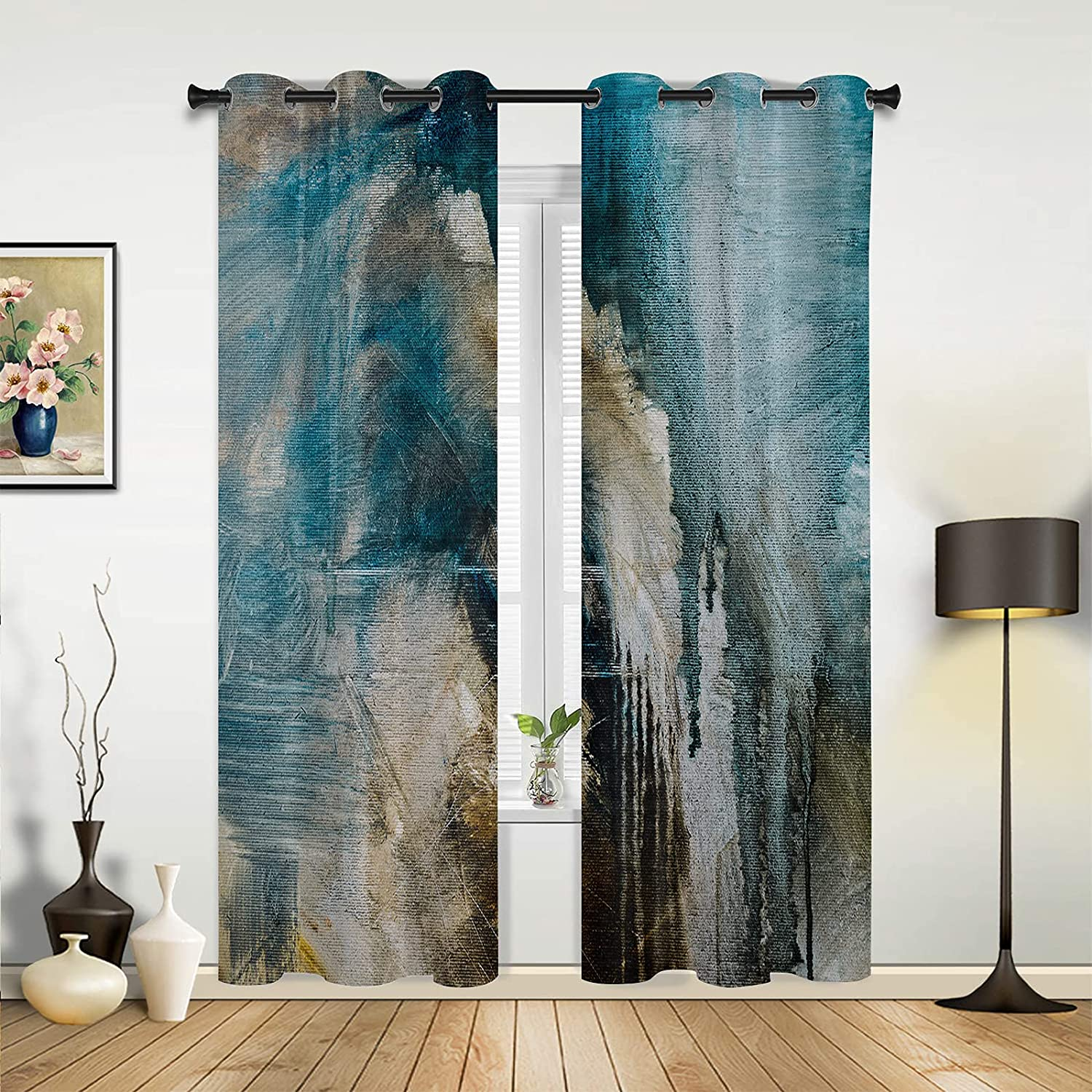 Window Sheer Curtains for Bedroom Turquoise OFFicial mail order Room Abstract low-pricing Living