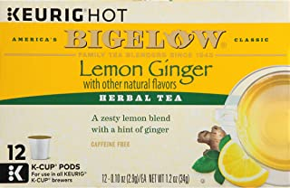 Bigelow Lemon Ginger Herbal Tea Keurig K-Cups, Caffeine Free Herbal Tea, 12 Count Box