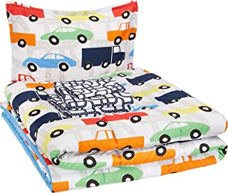 AmazonBasics Easy-Wash Microfiber Kid's Bed-in-a-Bag Bedding Set - Twin, Multi-Color Racing Cars