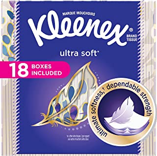 Kleenex Ultra Soft Facial Tissues, Cube Box, 75 Tissues per Cube Box, 18 Packs