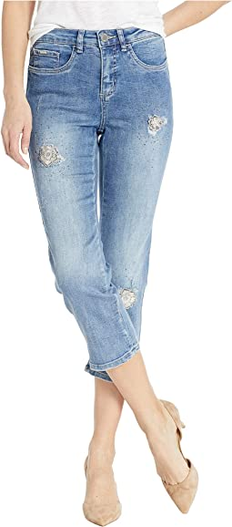 Statement Denim 3D Flower Patches Olivia Capris in Moody Blue