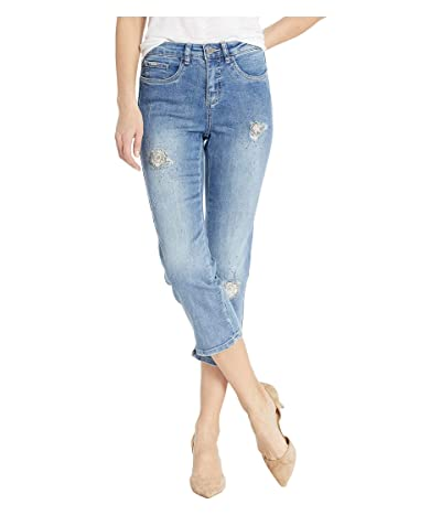 FDJ French Dressing Jeans Statement Denim 3D Flower Patches Olivia Capris in Moody Blue (Moody Blue) Women