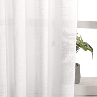 VISIONTEX White Sheer Curtains Faux Linen Rod Pocket Window Curtains for Living Room 54 x 84 Inch Set of 2 Curtain Panels
