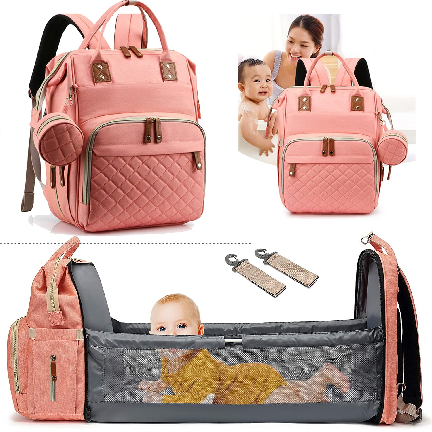 Axcone 3 in 1 Foldable Baby Diaper Bag Backpack Crib Unisex Travel Bed Nappy for Boys & Girls Waterproof Stroller Straps Large Capacity Pink