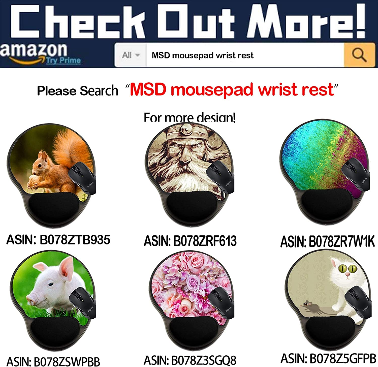 Mat with Wrist Support MSD Mousepad Wrist Rest Protected Mouse Pads 39949085 Pet Group Concept as Dogs Cats a Hamster and Budgie Gathered Together ID
