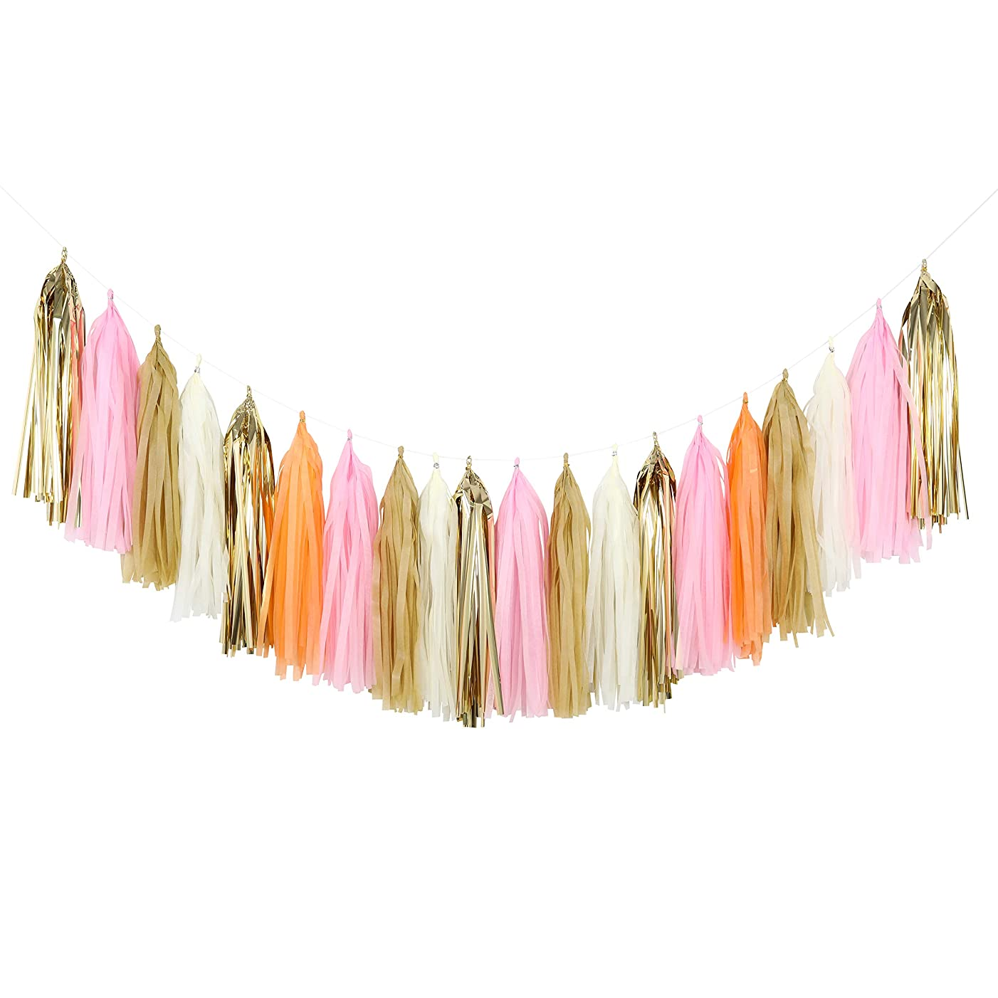 Fonder Mols 25pcs Rustic Tissue Paper Tassels Garland DIY Kit for Vintage Wedding, Girl First Birthday Decoration, Pink and Peach Baby Shower Decor A19