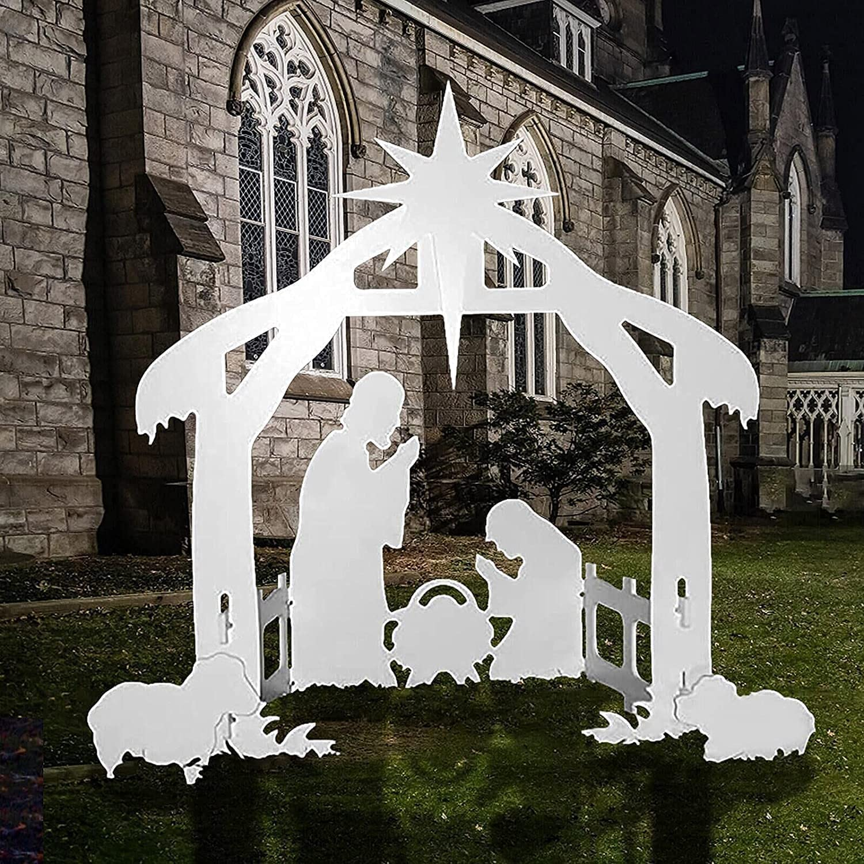 Christmas Jesus Scene Inserting Card Plastic Board   Holy Family Outdoor Nativity Scene for Yard   17.3