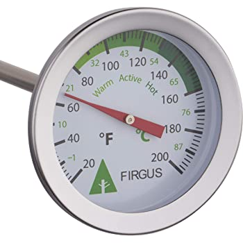 Firgus Compost Soil Thermometer with 20 Inch Probe for Backyard Composting Stainless Steel 2 Inch Diameter Temperature Gauge and Bonus Stem Protector