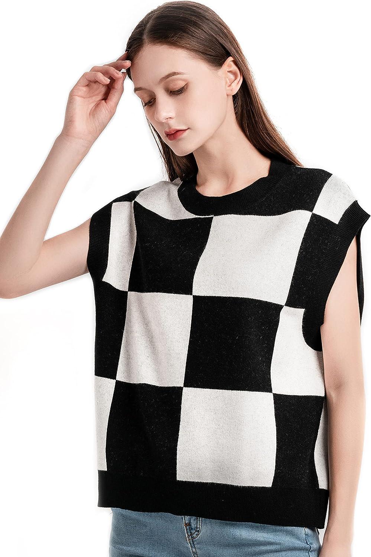 QVITO Women's Cable KnitCrewneckSweater Vest Fashionable Preppy Style Sleeveless Crop Short Vest Vintage Pullover