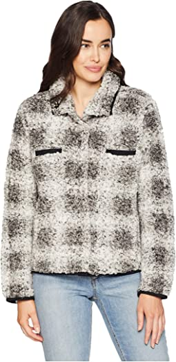 Soft Tip Shearling Box Plaid Two-Pocket Cozy Jacket