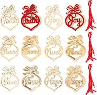 Kolewo4ever 36 Pieces Christmas Wooden Ornament Xmas Tree Hanging Tags Pendant DIY Crafts Decor Christmas Decorations