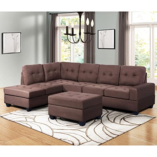 BREA 7pcs Sectional Living Room Couch Set BROWN Microfiber Reclining Sofa Chaise
