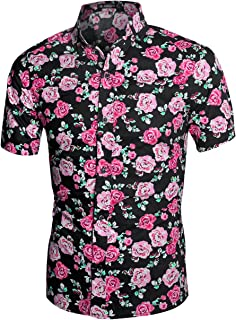 b6180495d3 ... Check out this uxcell Men Slim Fit Floral Print Short Sleeve Button  Down Beach Hawaiian Shirt