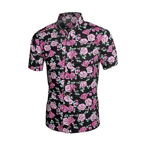 0e05903cb0d54 uxcell Men Slim Fit Floral Print Short Sleeve Button Down Beach Hawaiian  Shirt
