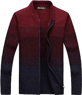 Men's Slim Fit Zip Up Color Gradient Cardigan Sweater Kniwear (Size M-7XL)