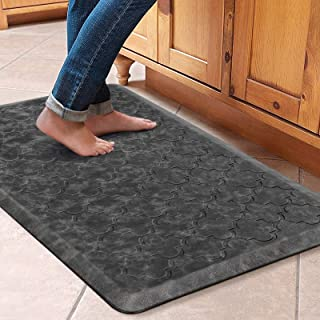 """WiseLife Kitchen Mat Cushioned Anti Fatigue Floor Mat,17.3""""x28"""",Thick Non Slip Waterproof Kitchen Rugs and Mats,Heavy Duty PVC Foam Standing Mat for Kitchen,Floor,Home,Office,Desk,Sink,Laundry,Grey"""