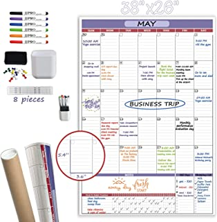 """Vertical Large Dry Erase Wall Calendar-38""""x 26"""" Undated Monthly Calendar- Premium Laminated Reusable White Board Planner F..."""