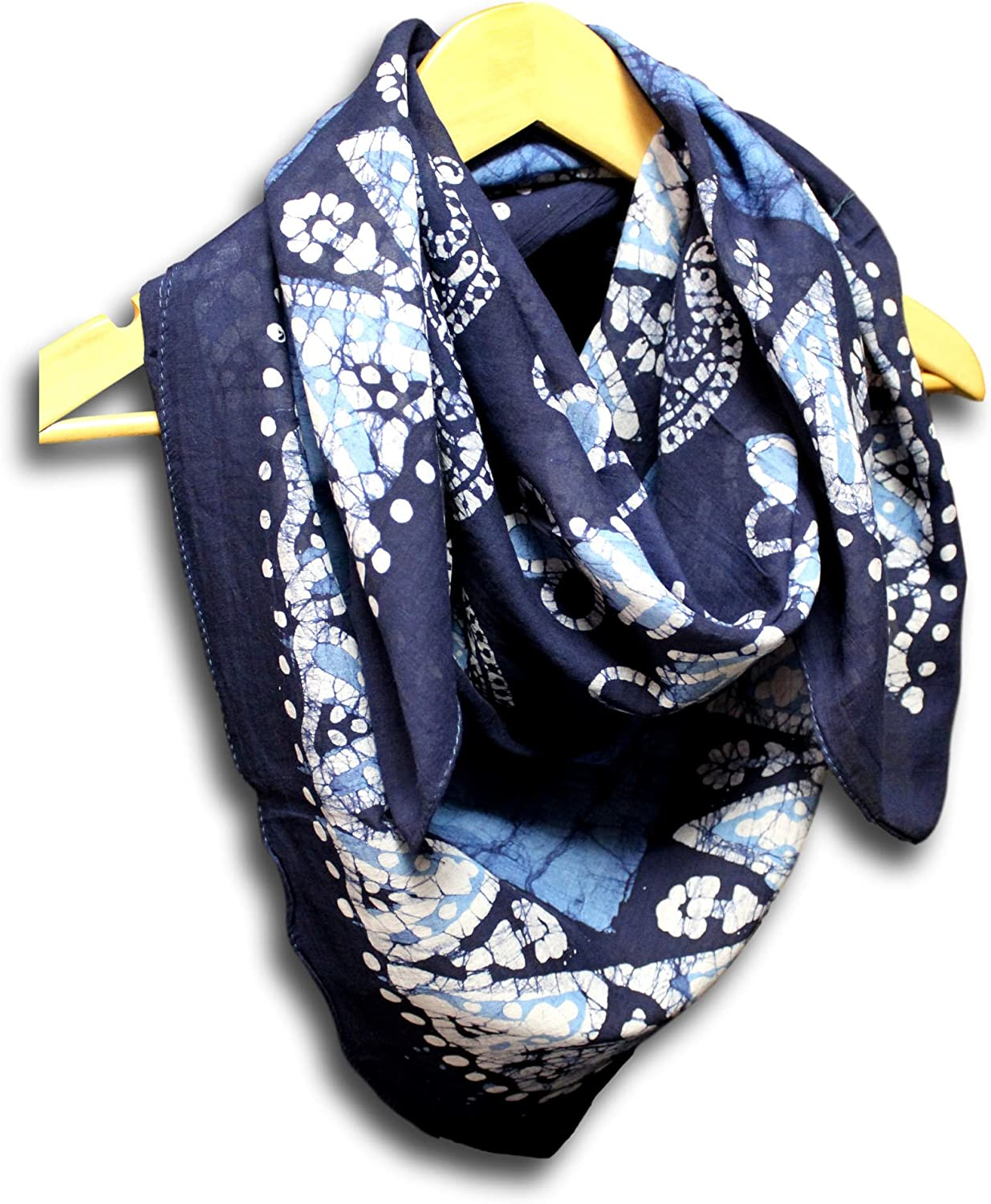 Homestead Women's Fashion Lightweight Floral Paisley Scarf Batik Print Sheer Soft 100% Cotton Neck Head Scarf Stole (Blue, 42 x 42 inches)
