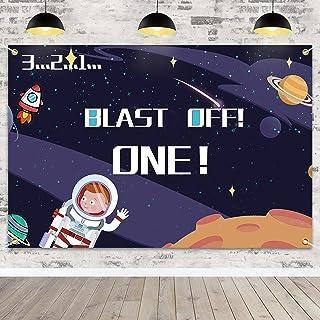 Blast Off One Backdrop Banner Blue