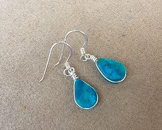 Eilat stone drop shaped sterling silver Handmade earrings