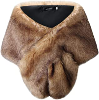 Women's Faux Fur Shawl Wraps Stole Cloak Coat Sweater Cape for Evening Party/Bridal/Wedding