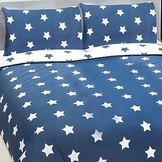 PriceRightHome - Juego de Funda de edredón y Funda de Almohada, diseño de Estrellas Blancas y Azules