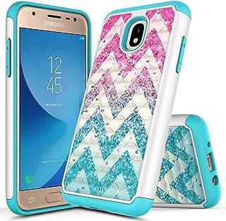 NageBee Case for Samsung Galaxy J7 Crown, J7 Star/J7 Refine/J7 2018/J737/J7 TOP/J7 V 2nd Gen/J7 Aura/J7 Aero for Girls Kids Women, Glitter Bling Diamond Studded Rhinestone Cute Case -Wave