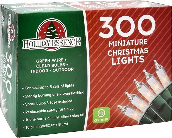 Holiday Essence 300 迷你透明灯圣诞串灯室内和室外装饰用绿线 UL 上市