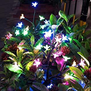 Solar Garden Decorative Lights Outdoor,2 Pack Beautiful LED Solar Powered Fairy Landscape Tree Lights,Two Mode Flower Ligh...