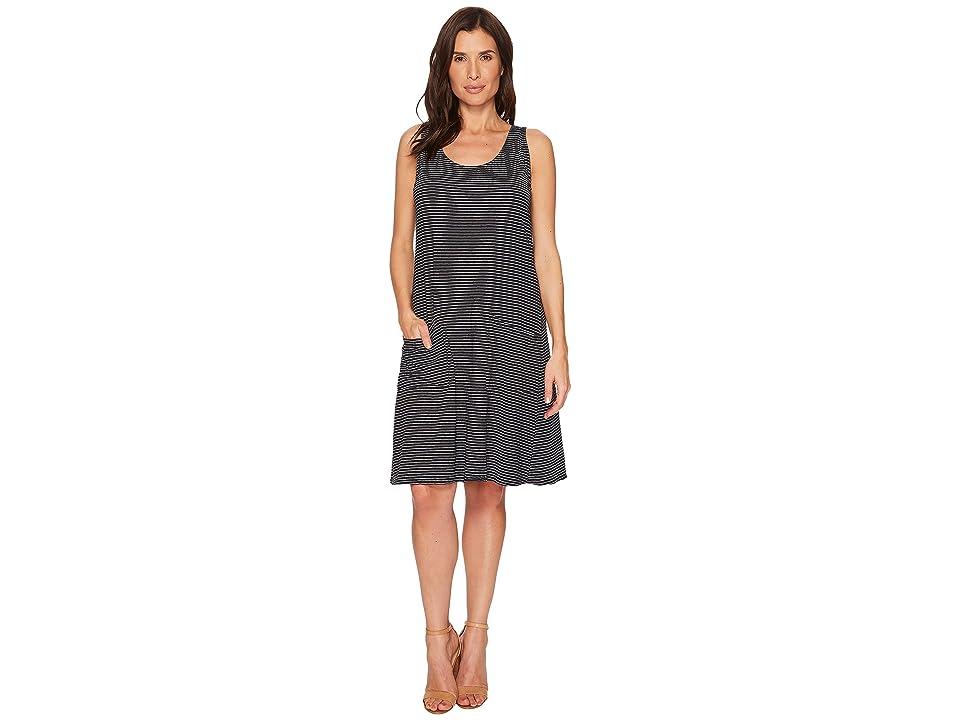 Fresh Produce Pinstripe Drape Dress (Black) Women