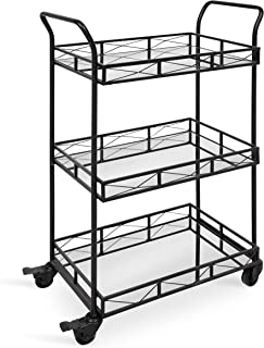 Kate and Laurel Ketia 3-Shelf Metal and Mirror Tray Bar, Kitchen, Multi-Purpose Cart, Black