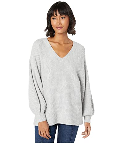 1.STATE V-Neck Bubble Sleeve Sweater (Silver Heather) Women
